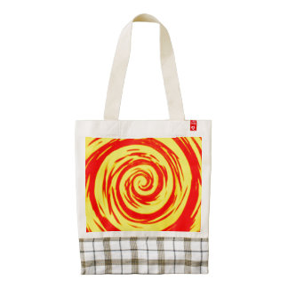 Orange & Yellow Hypnotic Swirl Art Zazzle HEART Tote Bag