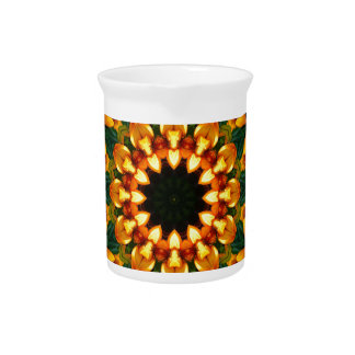Orange Yellow Iris Nature, Flower-Mandala Beverage Pitcher