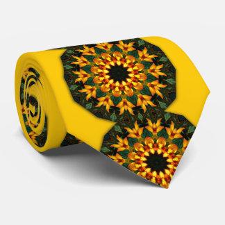 Orange Yellow Iris Nature, Flower-Mandala Tie