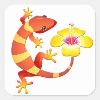 Orange & Yellow Jungle Lizard with Yellow Hibiscus Square Sticker