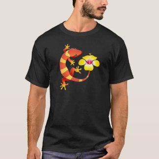 Orange & Yellow Jungle Lizard with Yellow Hibiscus T-Shirt