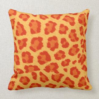 Orange & Yellow Leopard Print Throw Pillow