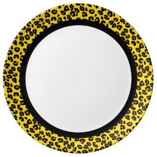 Orange & Yellow Leopard with Black Band on White Dinner Plate