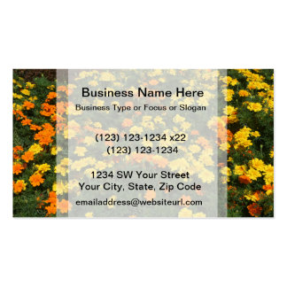 orange yellow marigold flowers field floral design business card