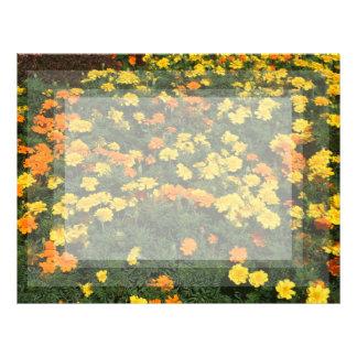 orange yellow marigold flowers field floral design letterhead