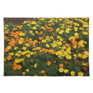orange yellow marigold flowers field floral design cloth place mat