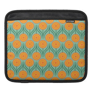 Orange Yellow Modern Floral Pattern-Mint Green Sleeve For iPads