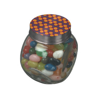 Orange Yellow Modern Floral Pattern-Orchid Jelly Belly Candy Jar