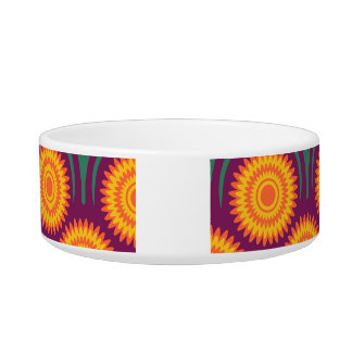 Orange Yellow Modern Floral Pattern-Orchid Cat Water Bowls
