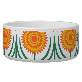 Orange Yellow Modern Floral Pattern-White Pet Food Bowls