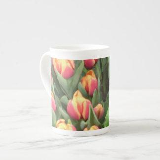 "Orange-Yellow ""Painted"" Tulips Tea Cup"