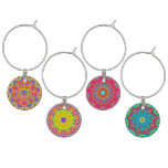 Orange, Yellow, Pink, and Blue Wine Charm Set