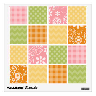 Orange, Yellow, Pink, and Green Patchwork look Wall Sticker