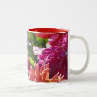 Orange Yellow pink Dahlia Flowers Two-Tone Coffee Mug