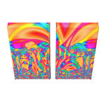 Orange yellow pink turquoise Fractal Art Stretched Canvas Prints
