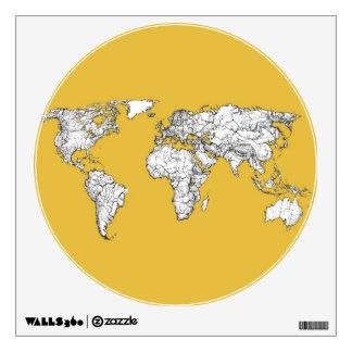Orange yellow planet wall sticker