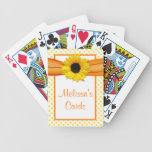 Orange Yellow Polka Dot Sunflower Personalized Bicycle Playing Cards