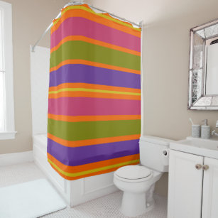 Orange Yellow Red Green And Purple Stripes Shower Curtain