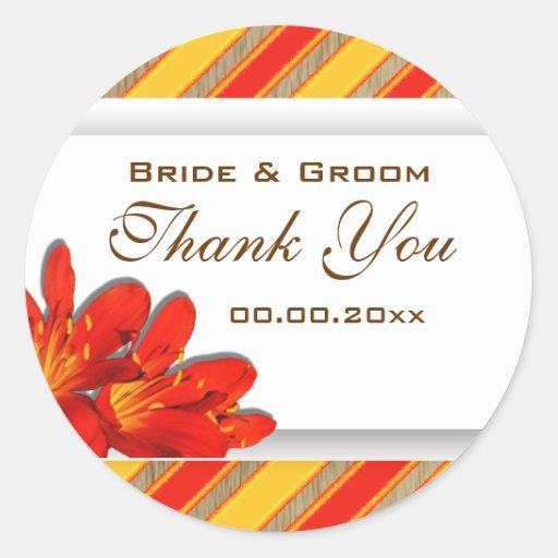 Orange yellow red wedding clivia garden classic round sticker