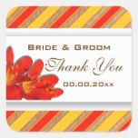 Orange yellow red wedding clivia square sticker