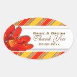 Orange yellow red wedding garden clivia oval sticker