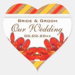 Orange yellow red wedding garden clivia heart sticker