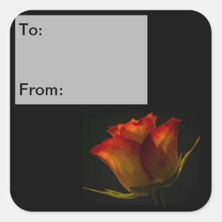 Orange & Yellow Rose Gift Tag Stickers