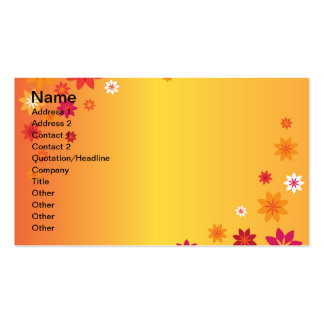 Orange Yellow Spring Flowers Business Card Template