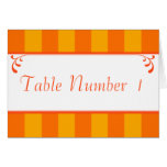 Orange & Yellow Striped Wedding Table Number Cards Greeting Card
