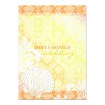 Orange + Yellow Summer Sea Shell Formal Wedding 5x7 Paper Invitation Card
