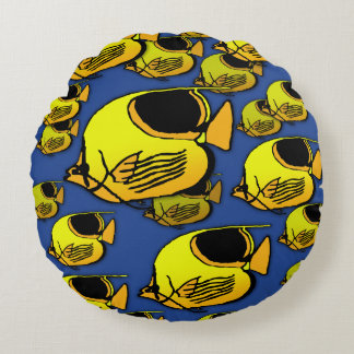 Orange & Yellow Sunfish Round Pillow