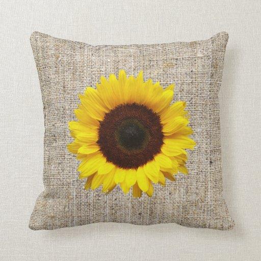 Orange yellow sunflower burlap home decor pillow zazzle for Sunflower home decor