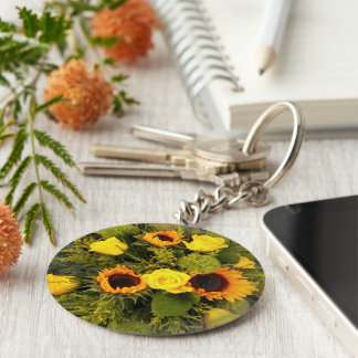 Orange Yellow Sunflower Roses Floral Bouquet Keychain