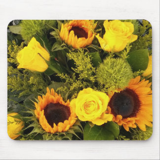 Orange Yellow Sunflower Roses Floral Bouquet Mouse Pad