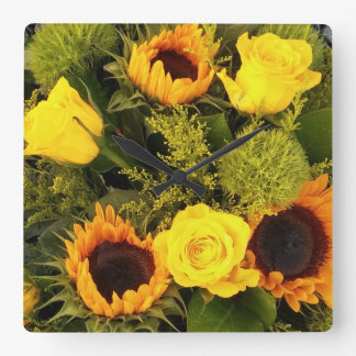 Orange Yellow Sunflower Roses Floral Bouquet Square Wall Clock