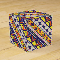 Orange Yellow Tribal Pyramids Print Favor Box