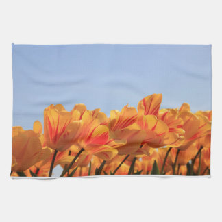 Orange yellow tulips by Thespringgarden Hand Towels