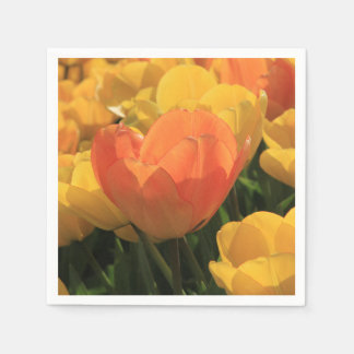 Orange yellow tulips by Thespringgarden Napkin