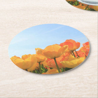 Orange yellow tulips by Thespringgarden Round Paper Coaster
