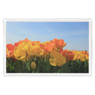 Orange yellow tulips by Thespringgarden Serving Tray