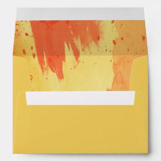 Orange Yellow Watercolor Splash Lined Envelope