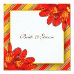 Orange yellow wedding country clivia 5.25x5.25 square paper invitation card