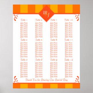 Orange Yellow Wedding Reception Seating Chart Poster