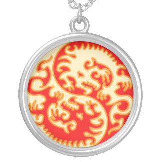 Orange Yin Yang Dragon Necklace