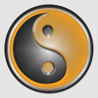 Orange Yin Yang Round Sticker