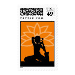 Orange Yoga Silhouette Postage