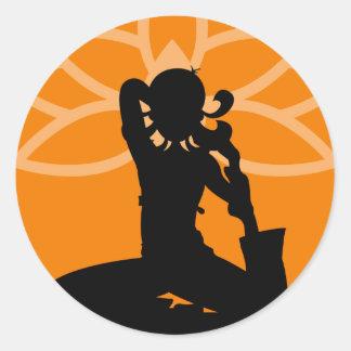 Orange Yoga Silhouette Sticker