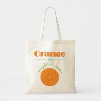 Orange You Glad It's Summer Themed Pattern Tote Bag