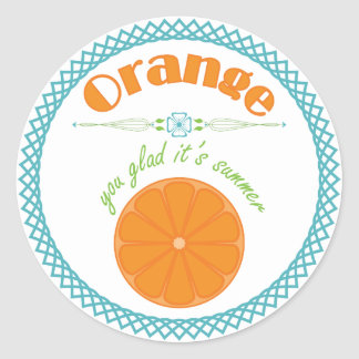 Orange You Glad Its Summer with Turquoise Border Classic Round Sticker