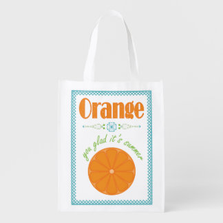 Orange You Glad It's Summer with Turquoise Border Grocery Bag